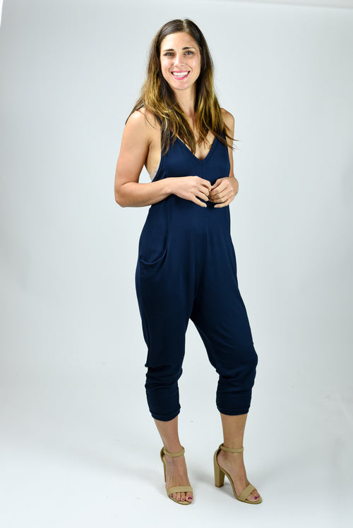 Top Hits Navy Jumpsuit