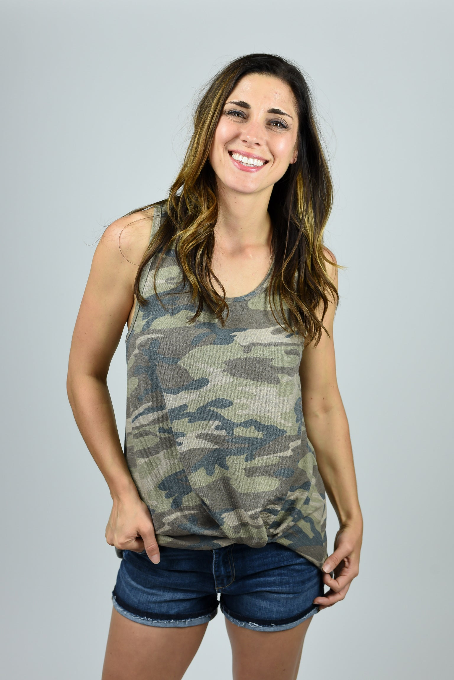 Out Of The Shadows Camo Front Twist Tank