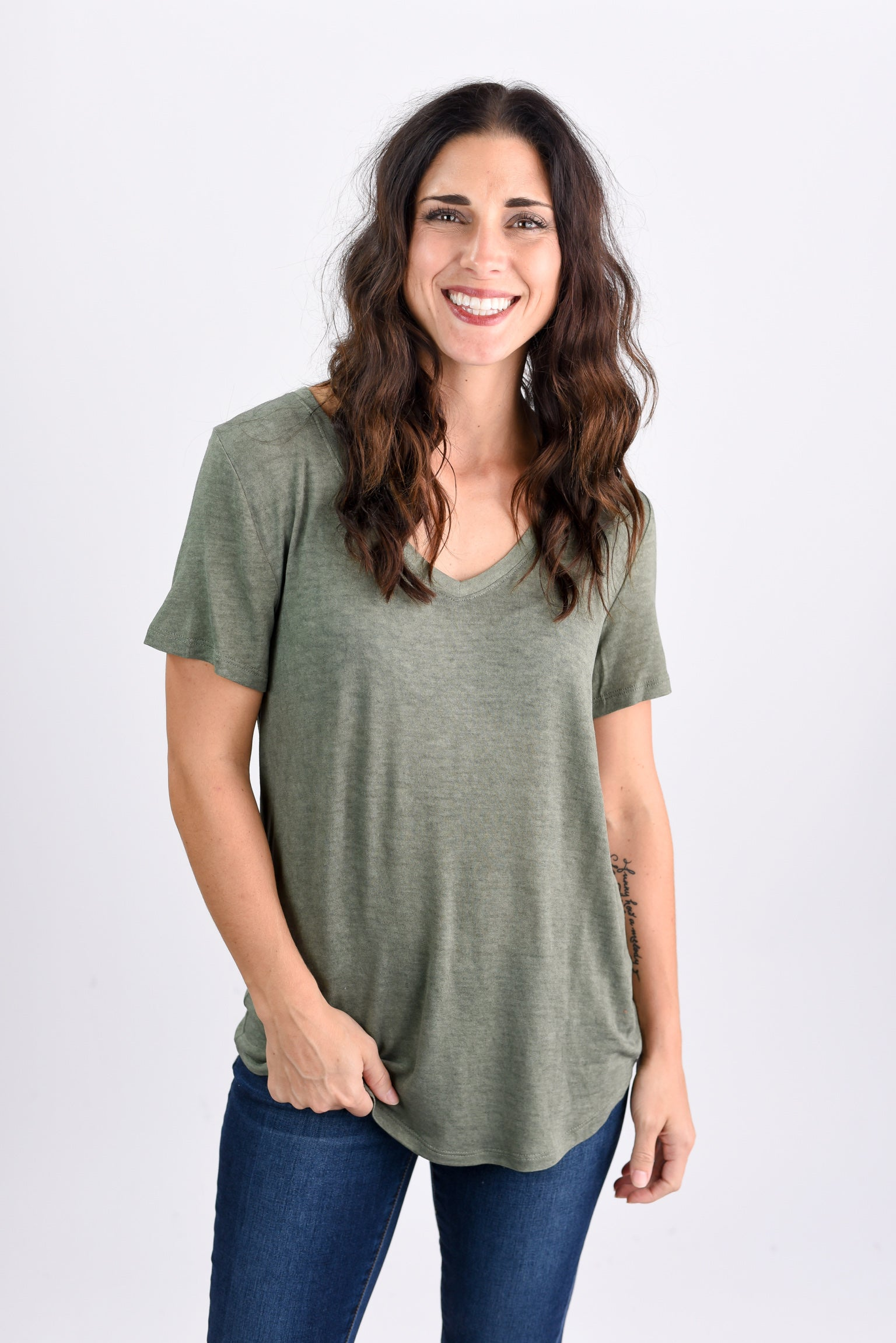 Just My Type Olive V-neck Lightweight Tee