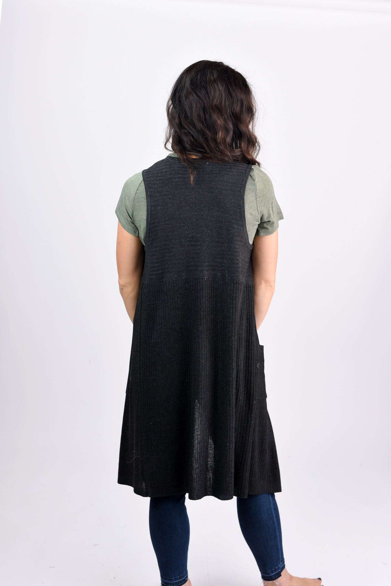 The Love We Share Charcoal Ribbed Sleeveless Duster Cardigan