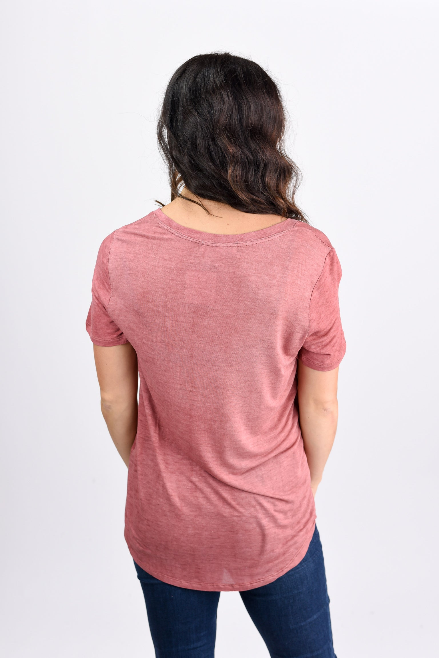 Just My Type Salmon V-neck Lightweight Tee