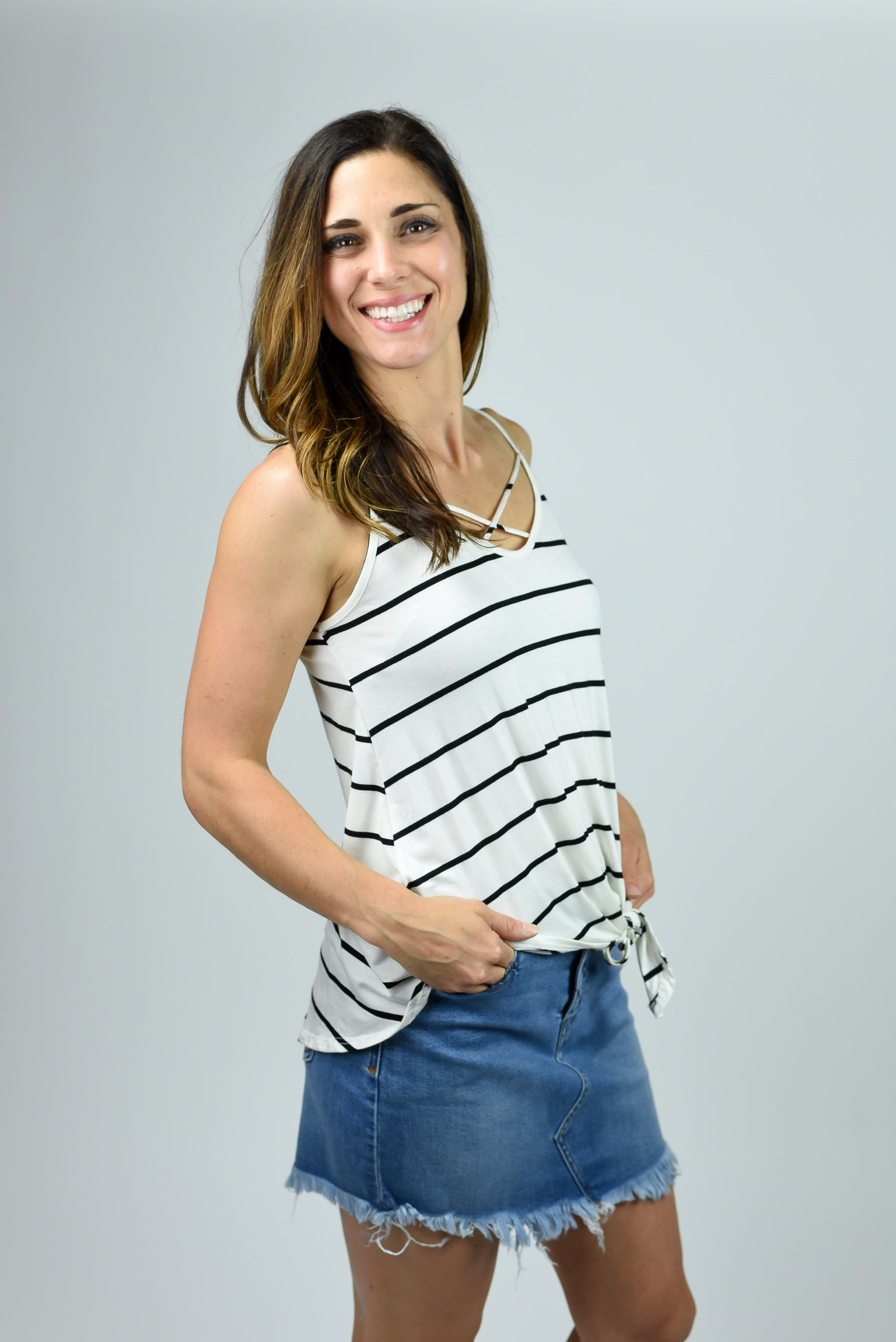 Driving The Coast Ivory Stripe Tank with Front Tie