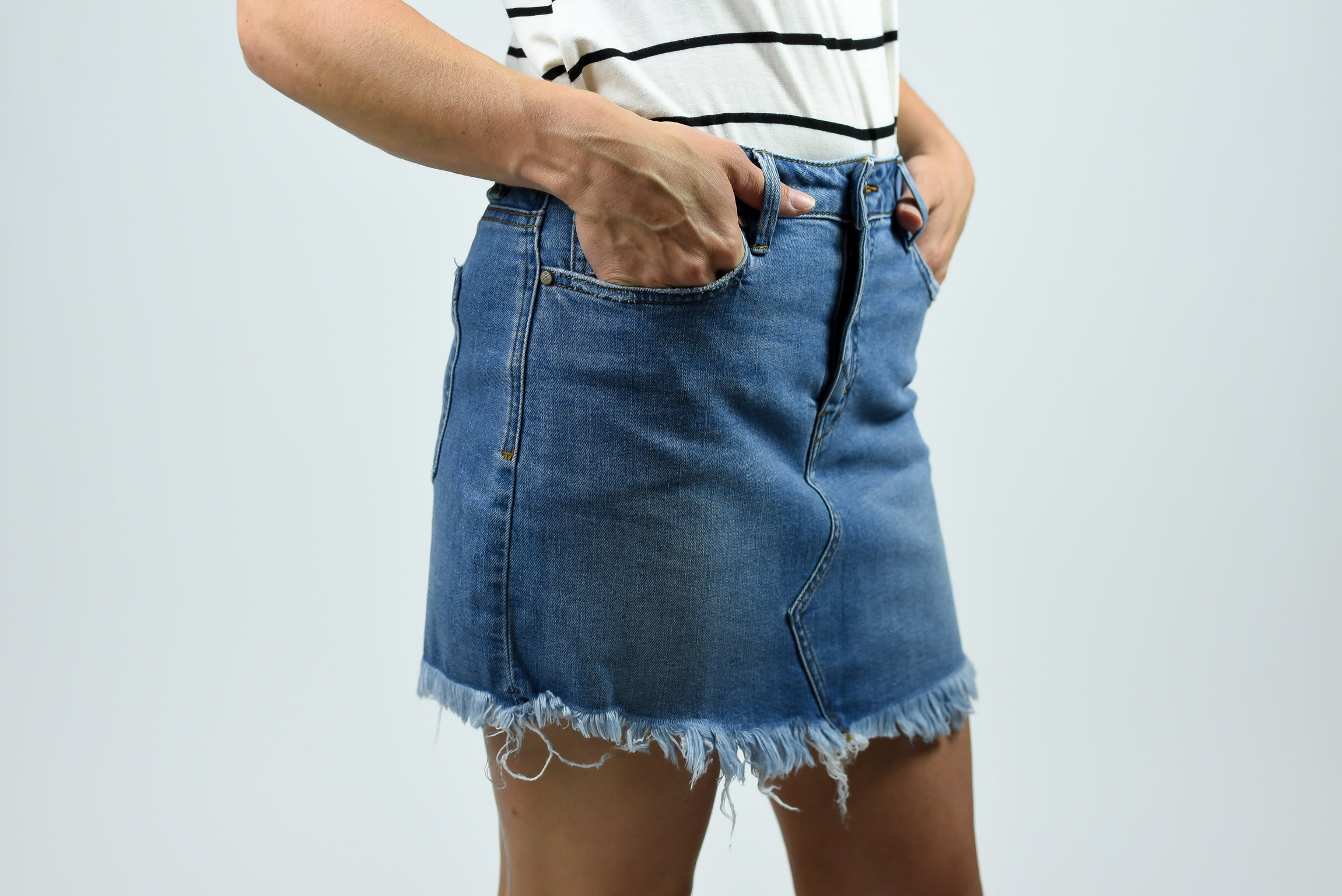 Time Is Up Frayed Denim Skirt