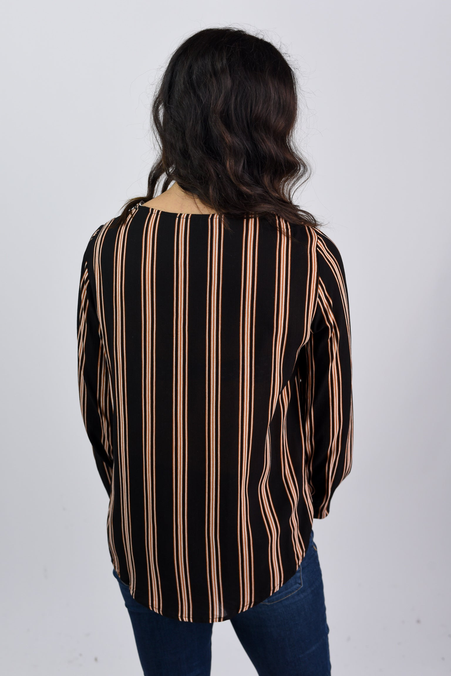 Here By My Side Black Pinstripe Long Sleeve Top