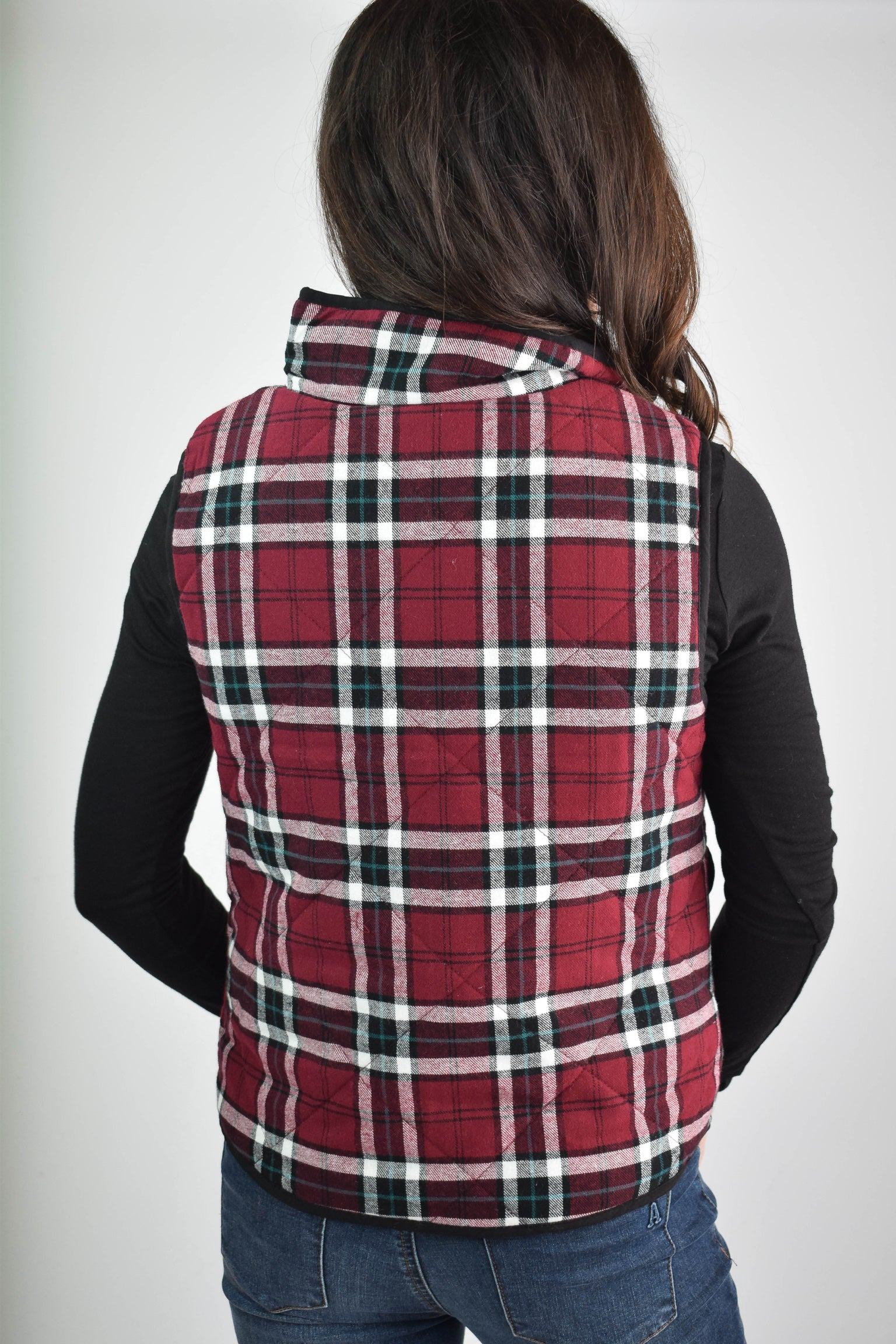 Fresh and Fall Plaid Black and Red Vest