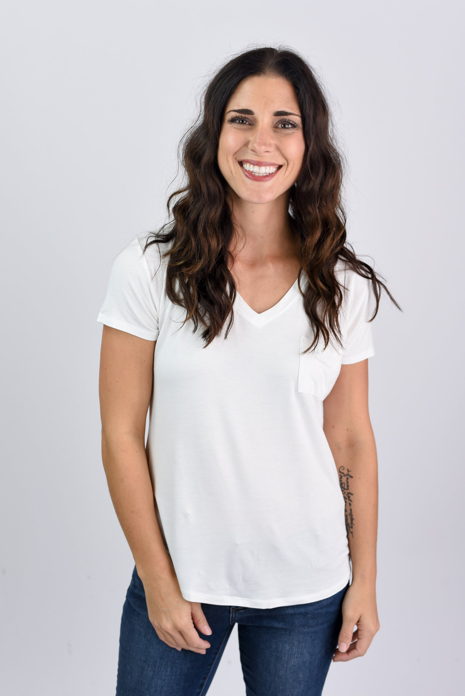 Staying In Basic Pocket V-neck Tee- White