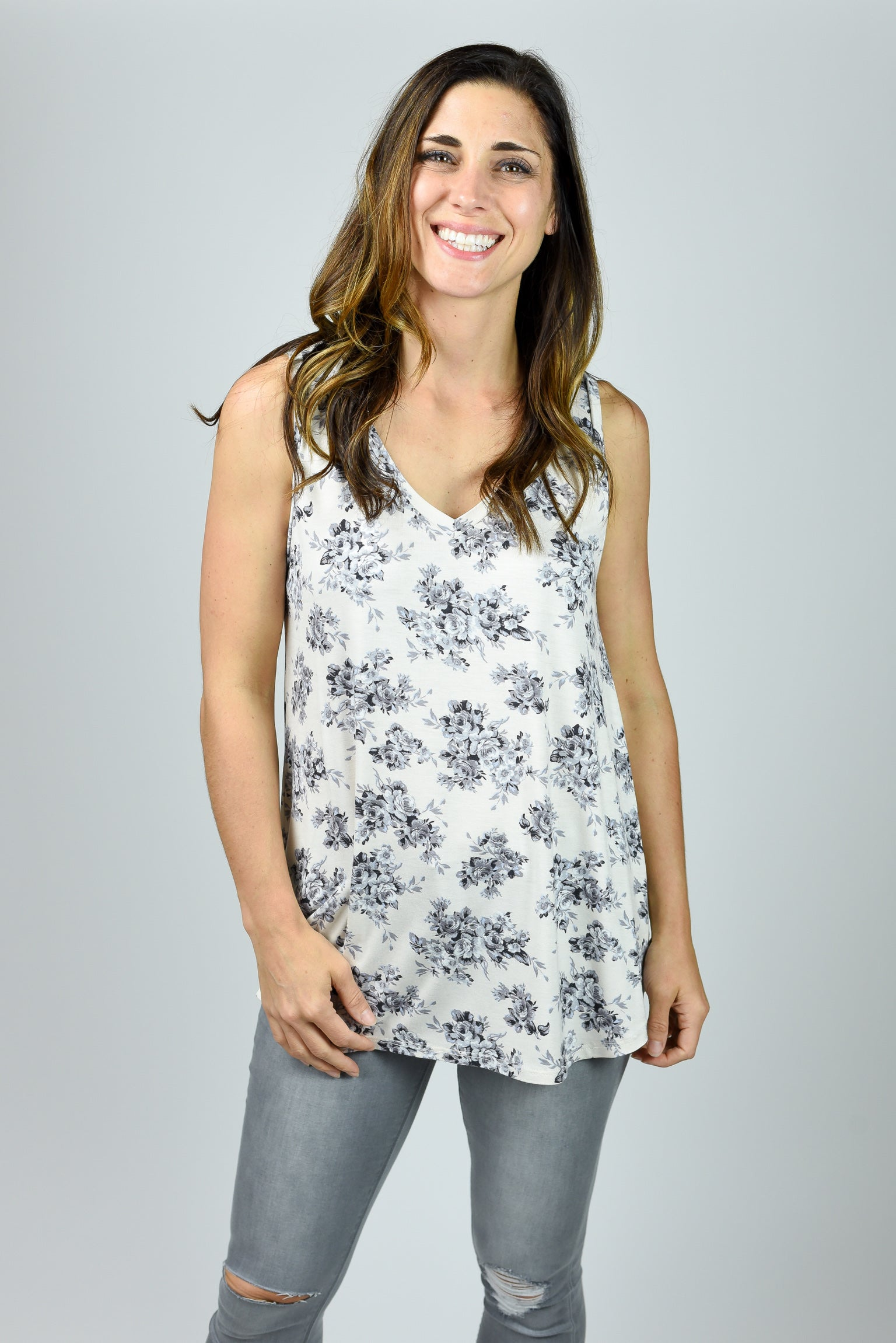 Gimme Three Steps Floral Vneck Tank