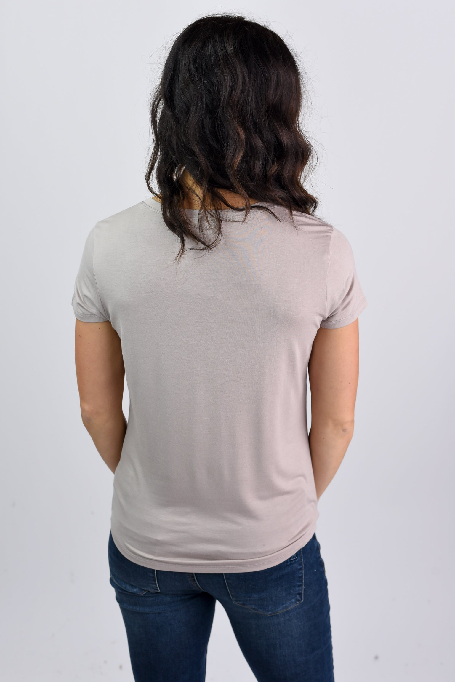 Staying In Basic Pocket V-neck Tee- Taupe