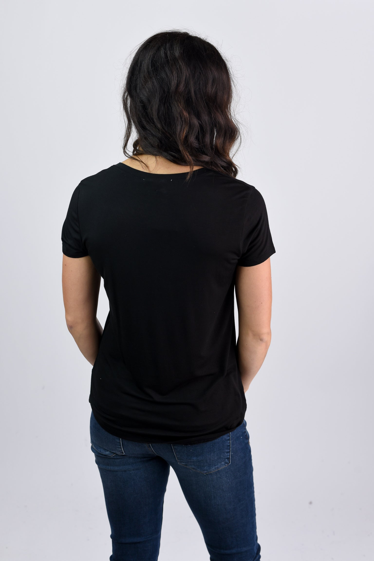 Staying In Basic Pocket V-neck Tee- Black
