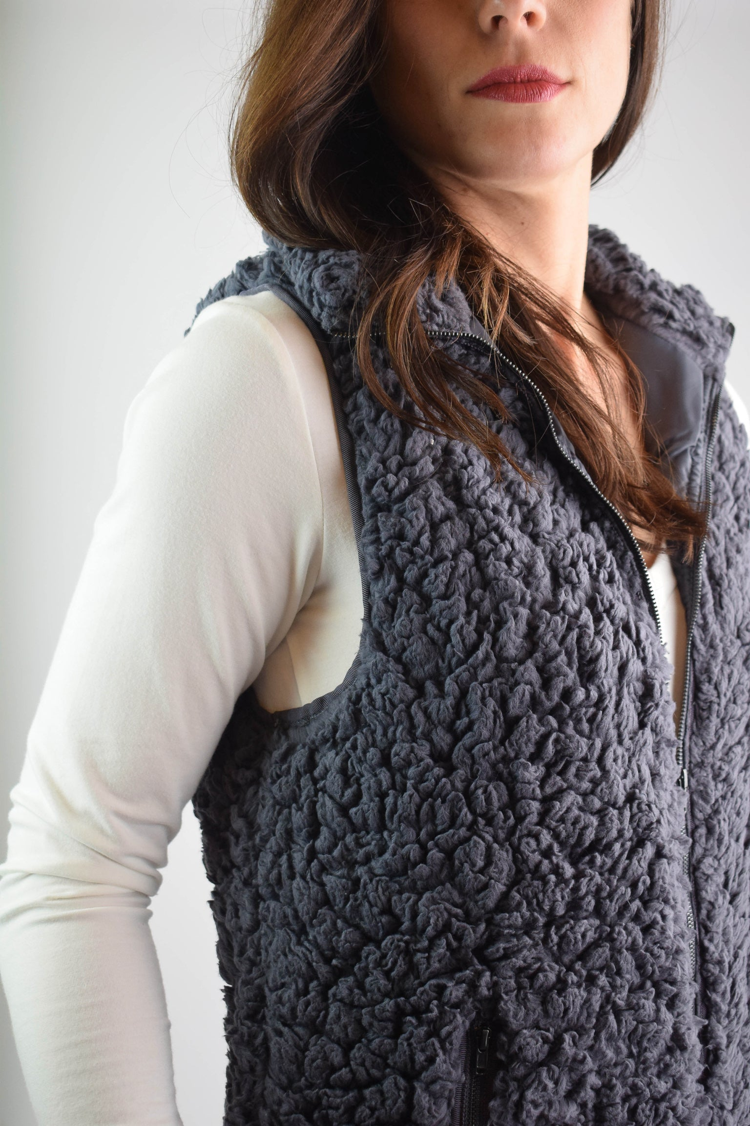 In The Dark Of The Night Charcoal Fleece Vest