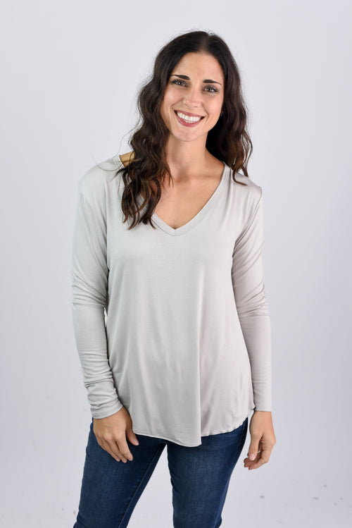 See The Whole World Vneck The Basic Long Sleeve- Taupe