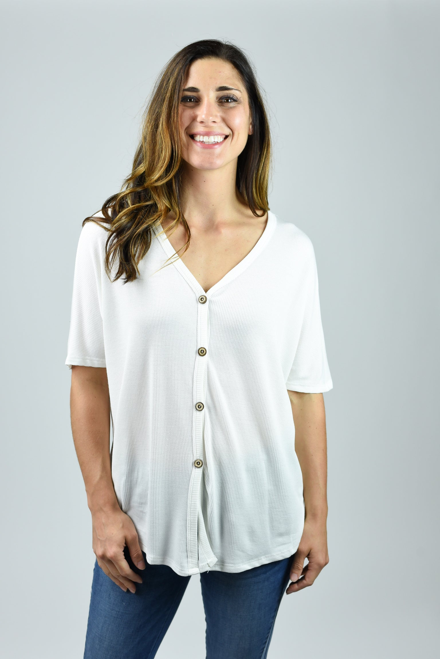 Well Traveled Front Tie Button Tee- White