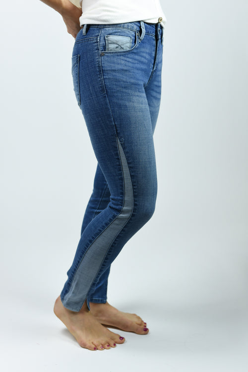 Finest Rivalry Midrise Denim Insert Skinny Jeans