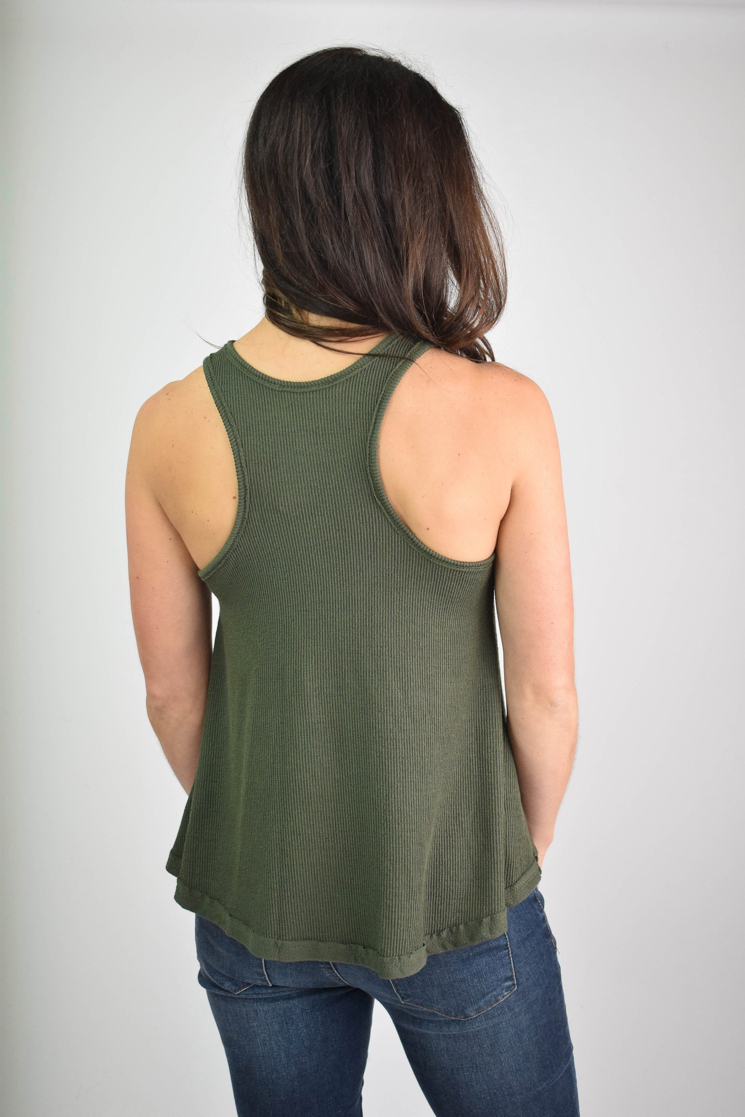 Between Days Ribbed Racerback Tank- Olive