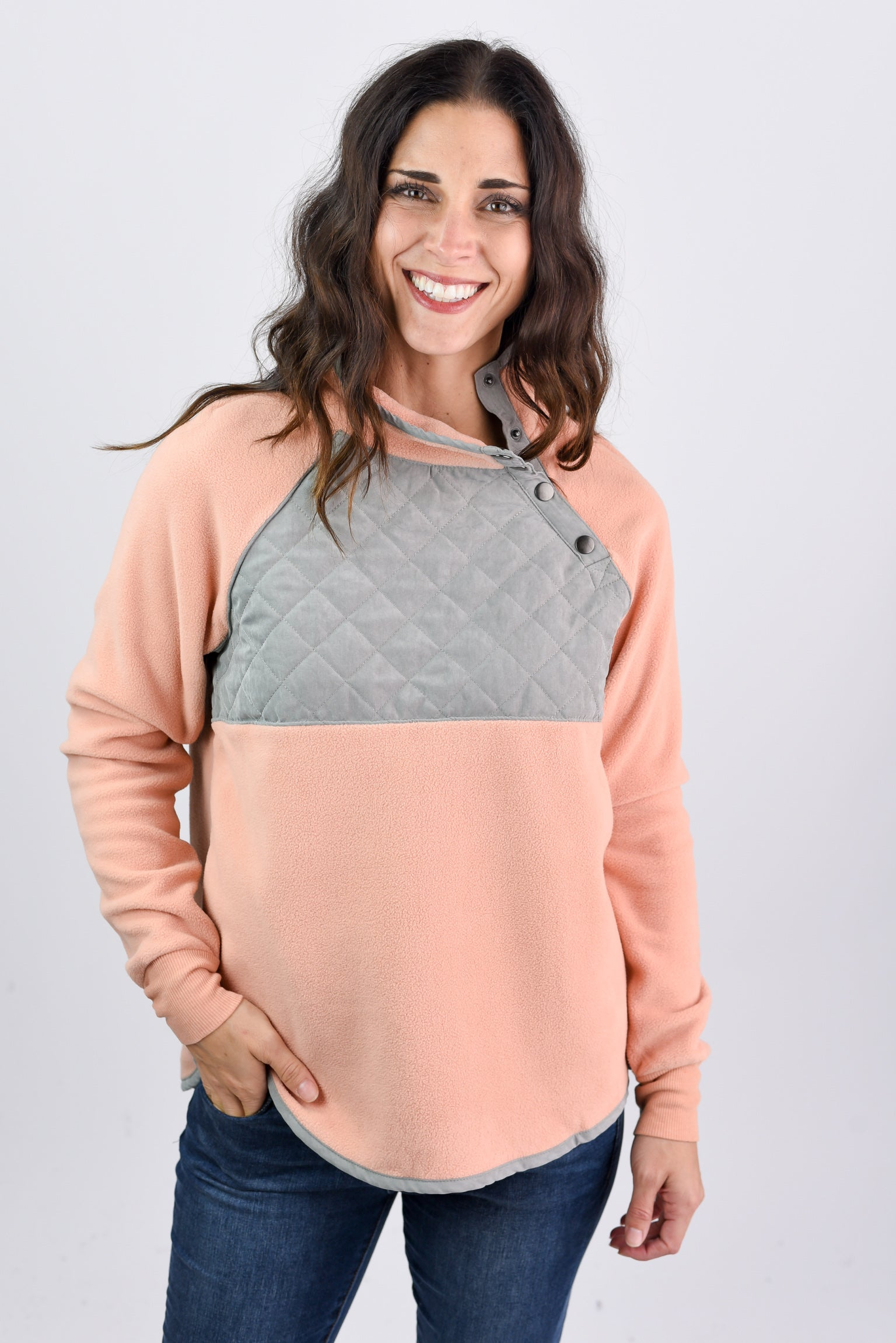 Favorite Pick Fleece Pullover Sweater - Blush/Grey