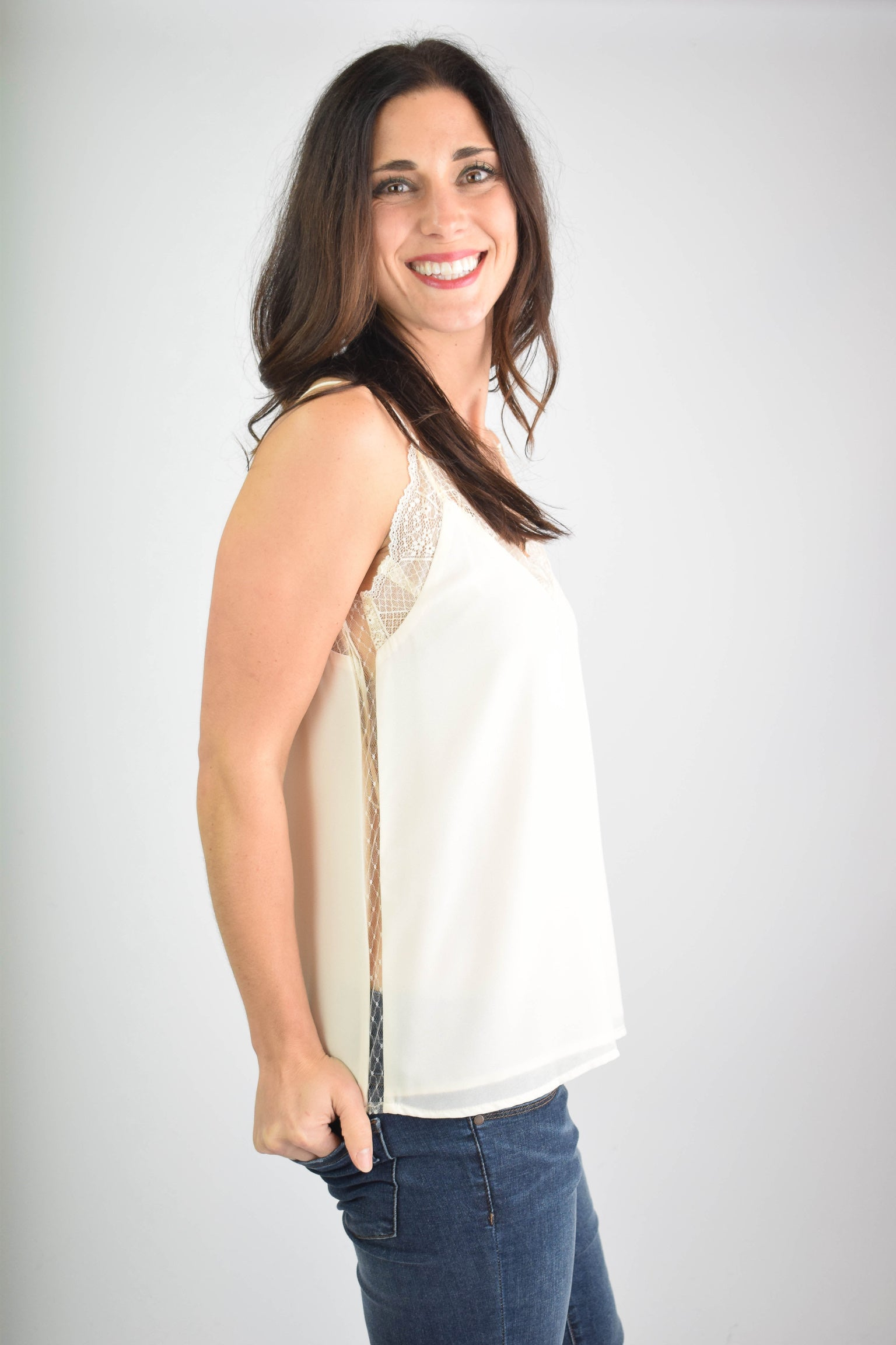 Almost Mine Peek A Boo Cream Lace Tank