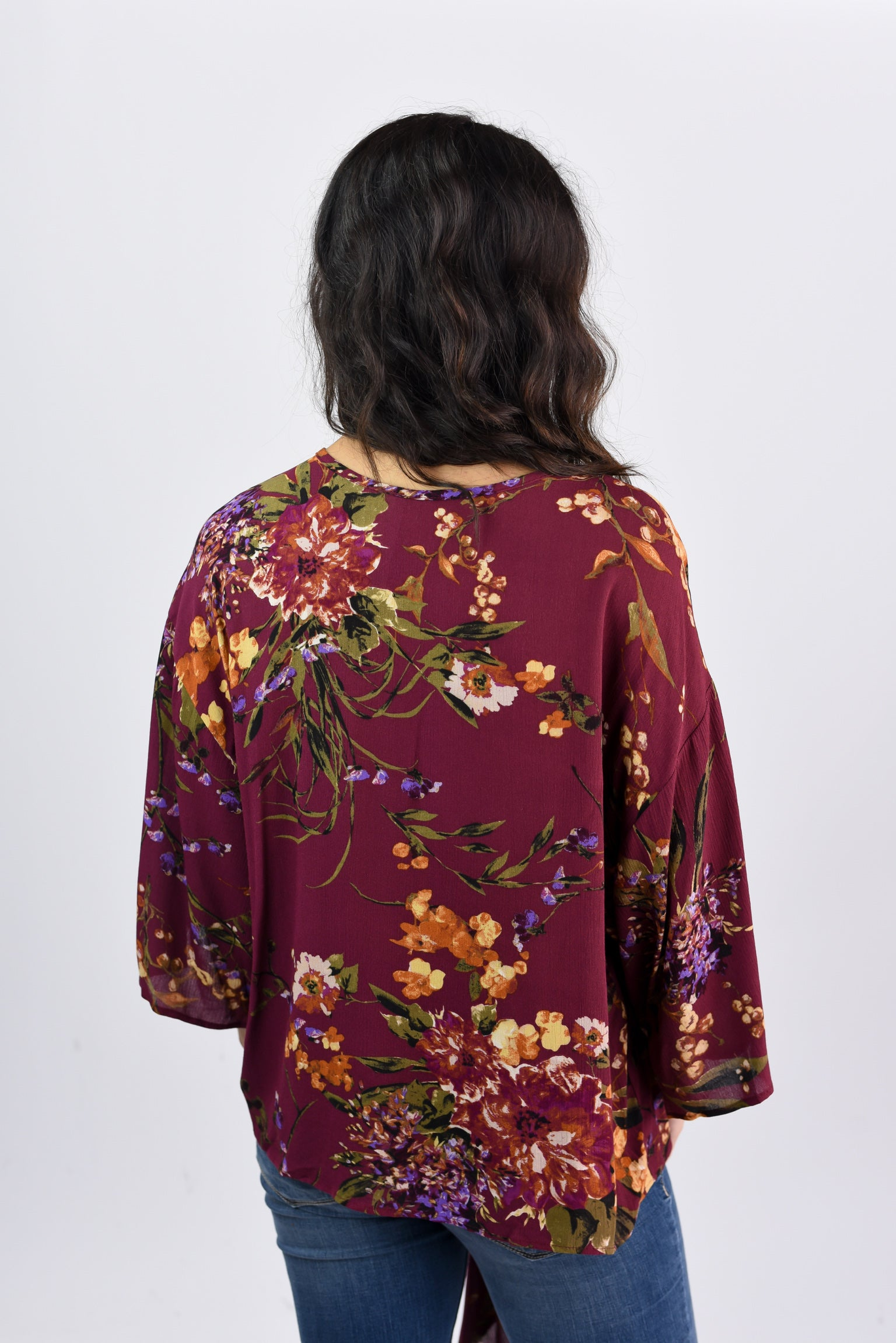 Floral Charm Burgundy Front Tie Bell Sleeve Top