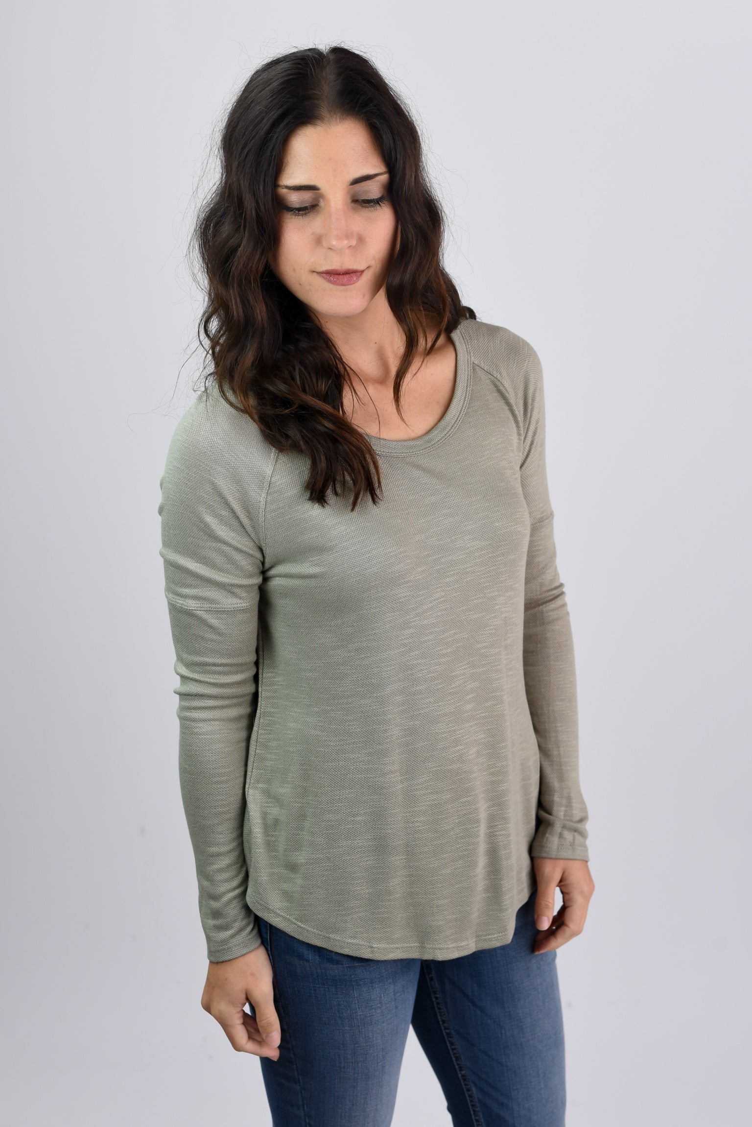 Nothing Compares Olive Slub Long Sleeve Top
