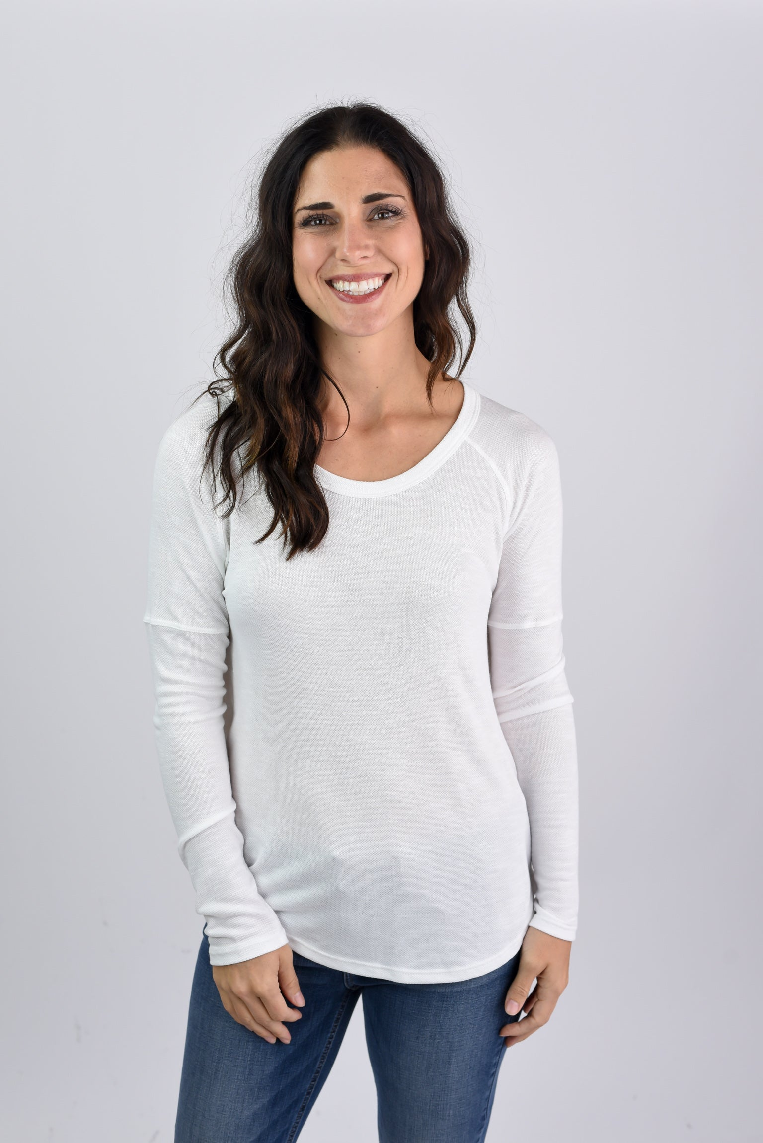 Nothing Compares Ivory Slub Long Sleeve Top