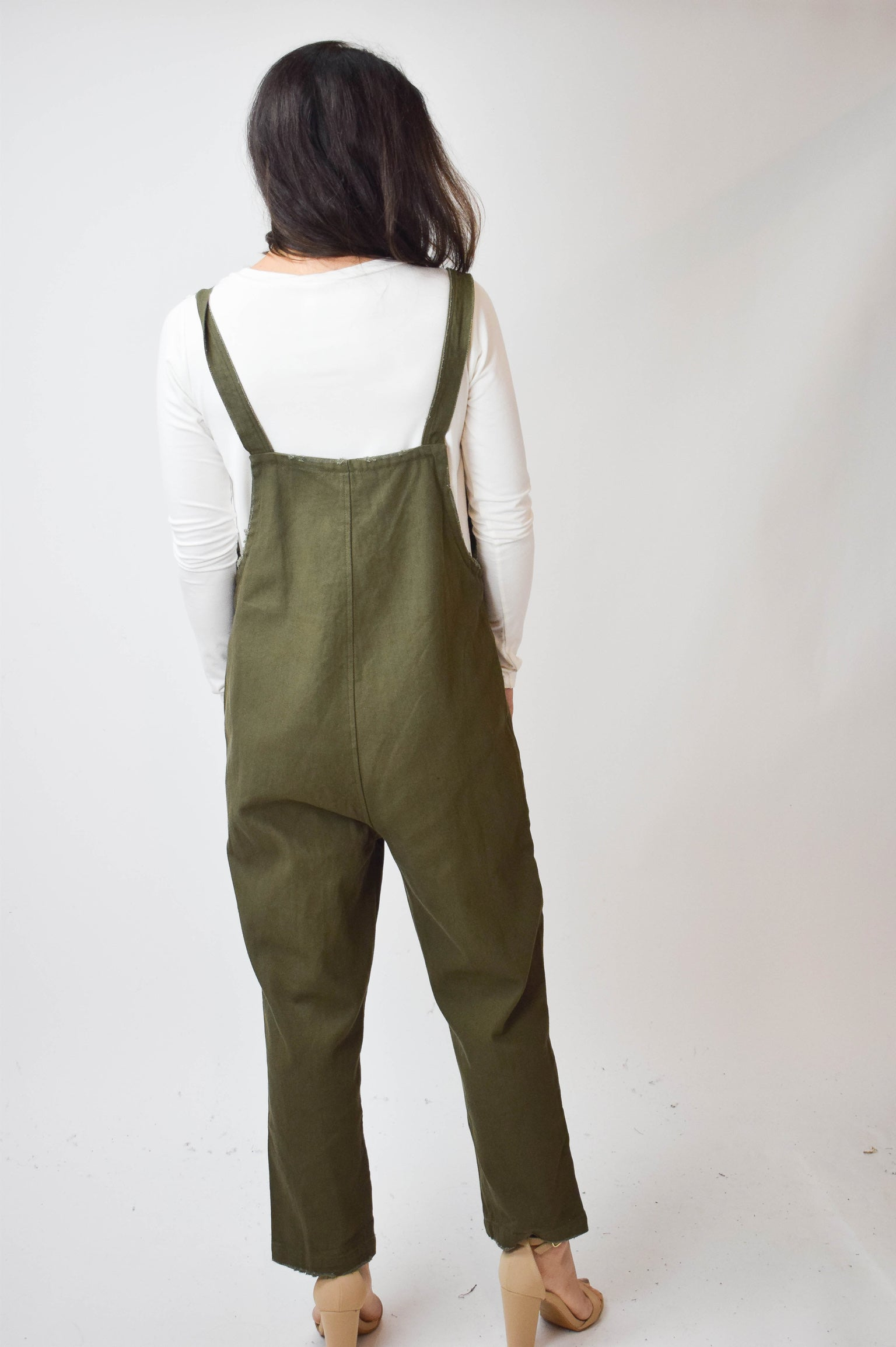 Long Road Ahead Olive Denim Overalls
