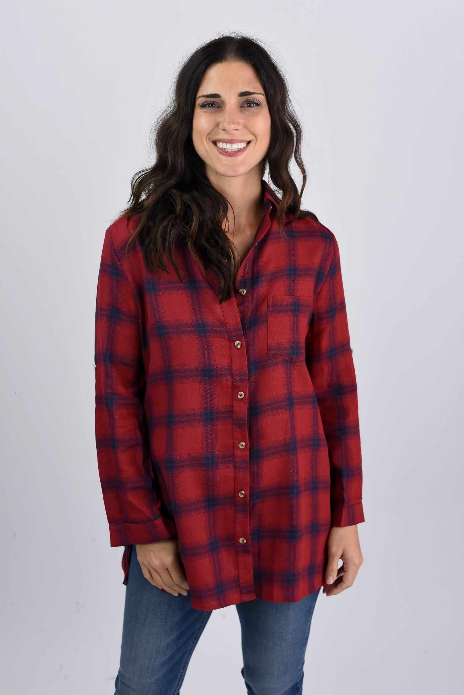 Fire Side Burgundy and Navy Flannel