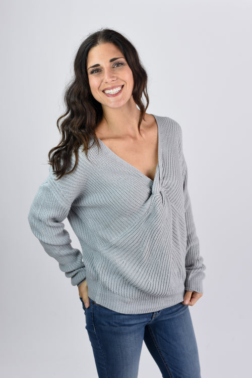 Leave It To Me Twisted Sweater- Grey