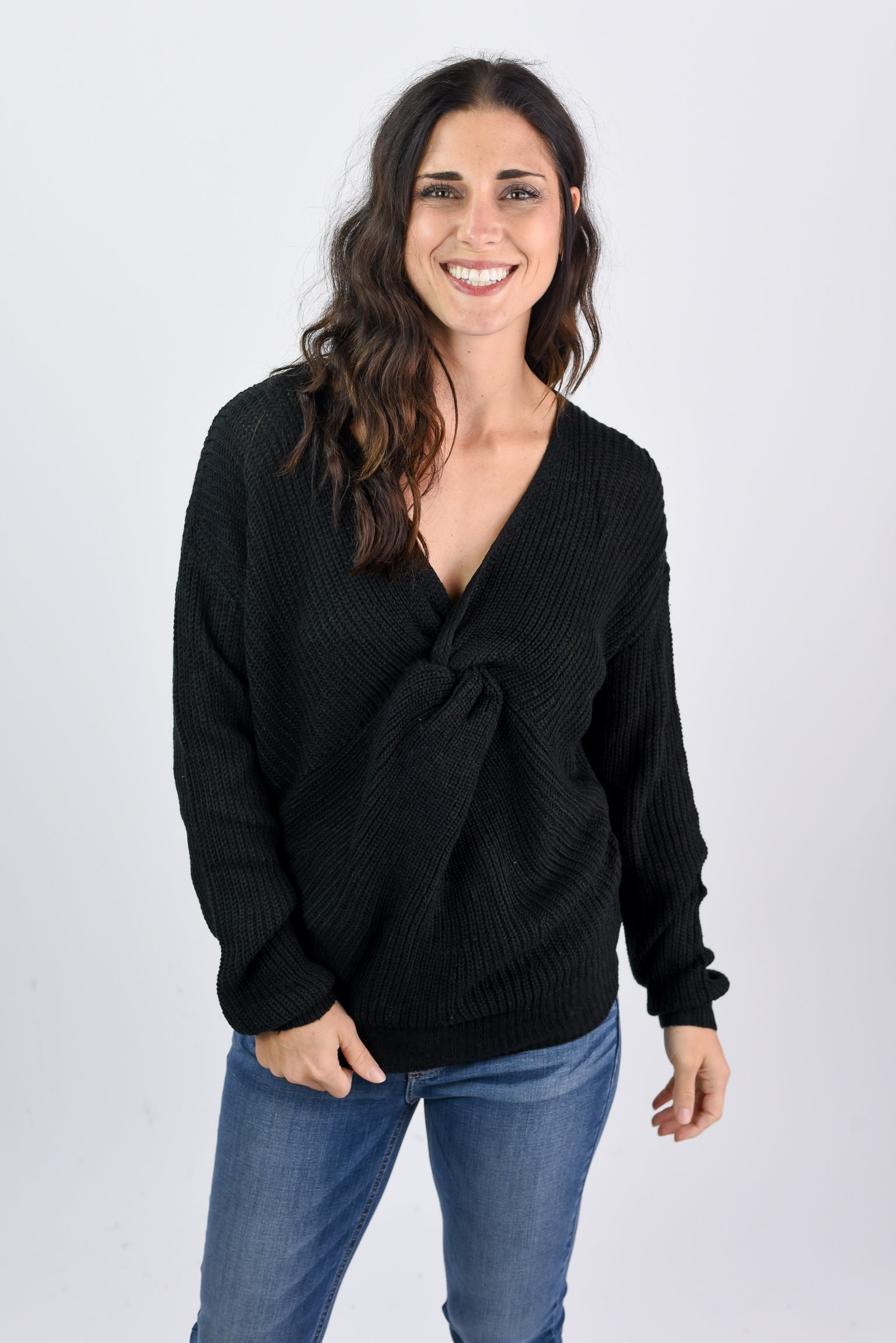 Leave It To Me Twisted Sweater- Black