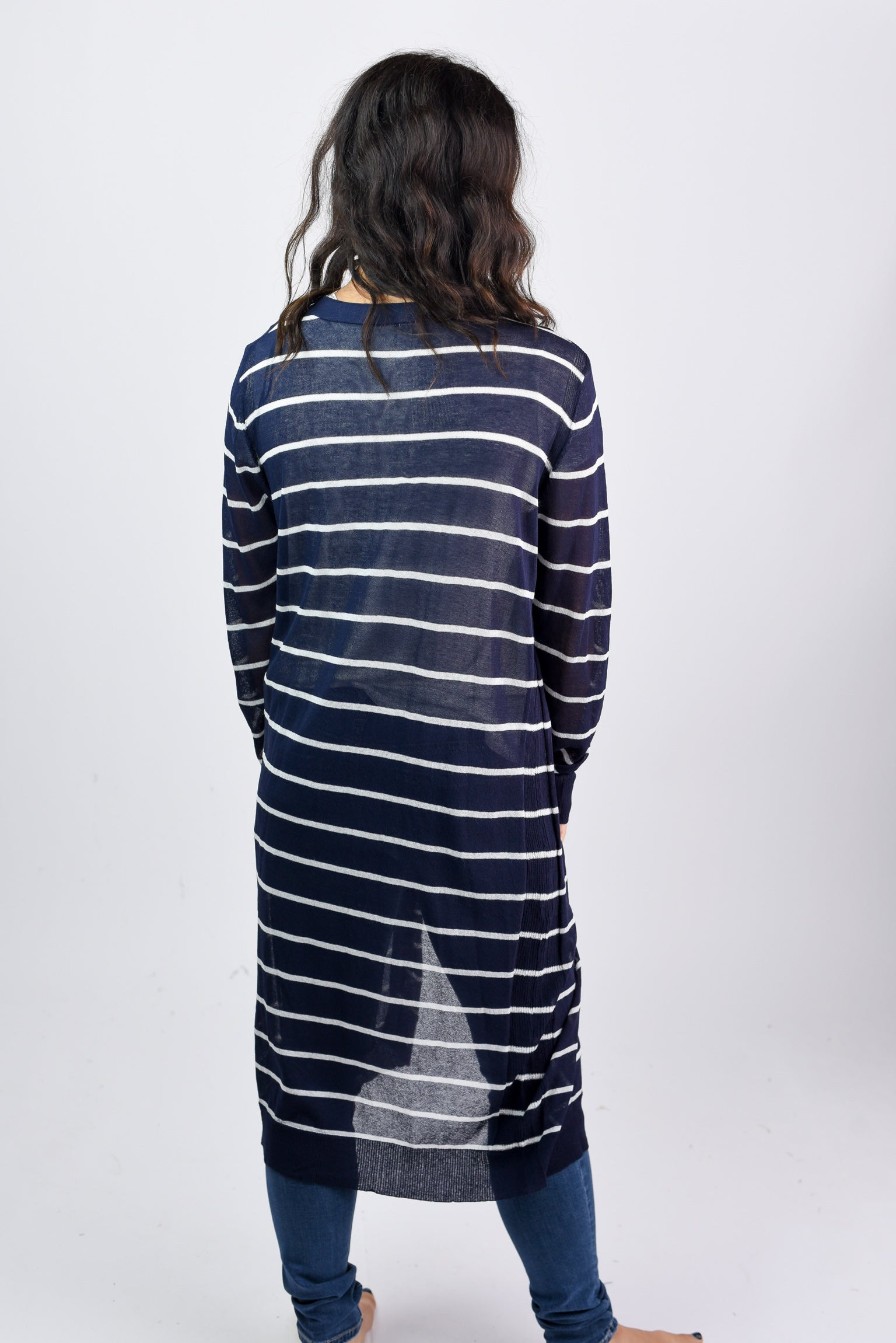 Revelation Striped Cardigan- Navy & White