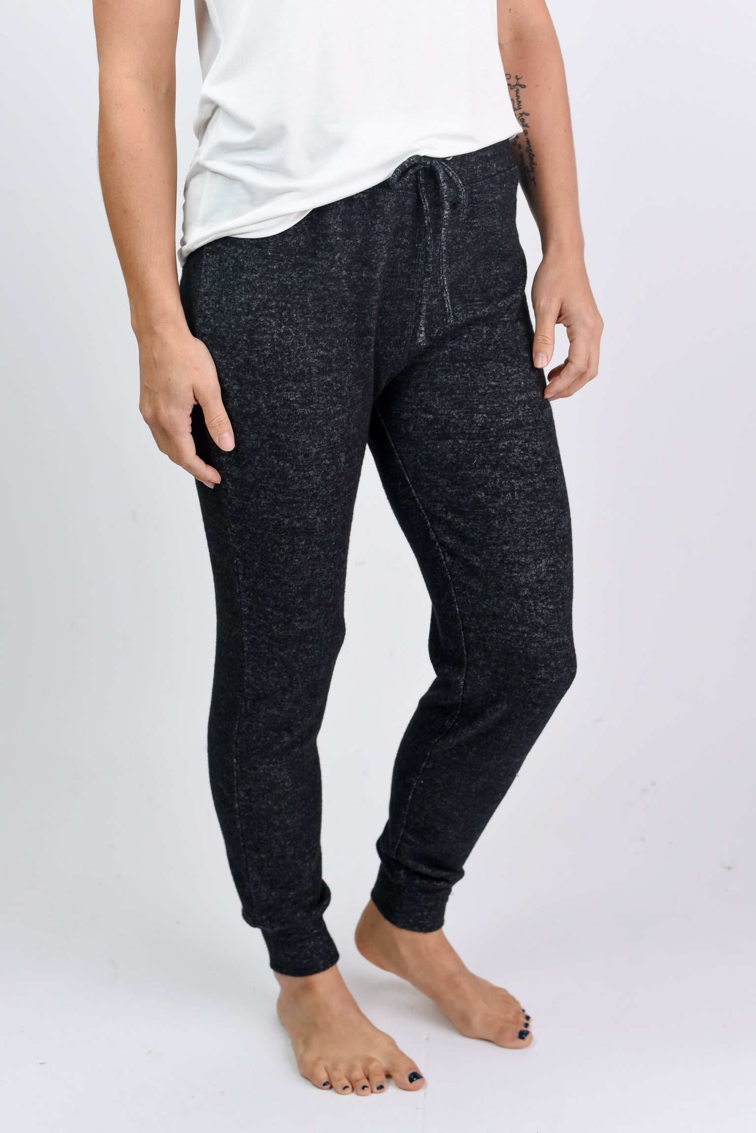 Cuddle Session Cozy Joggers- Heather Black