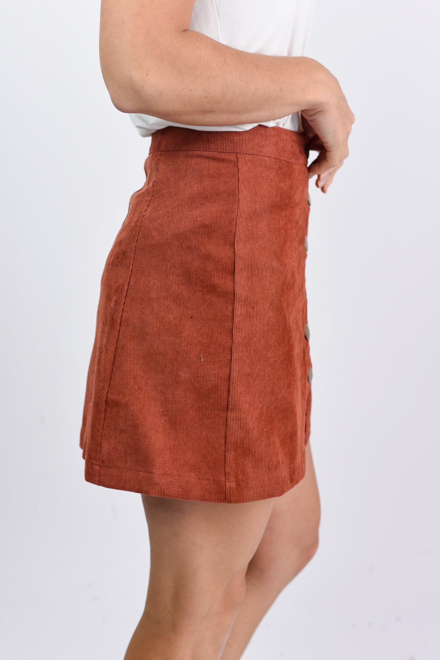 Fashionably Late Corduroy Rust Front Button Skirt