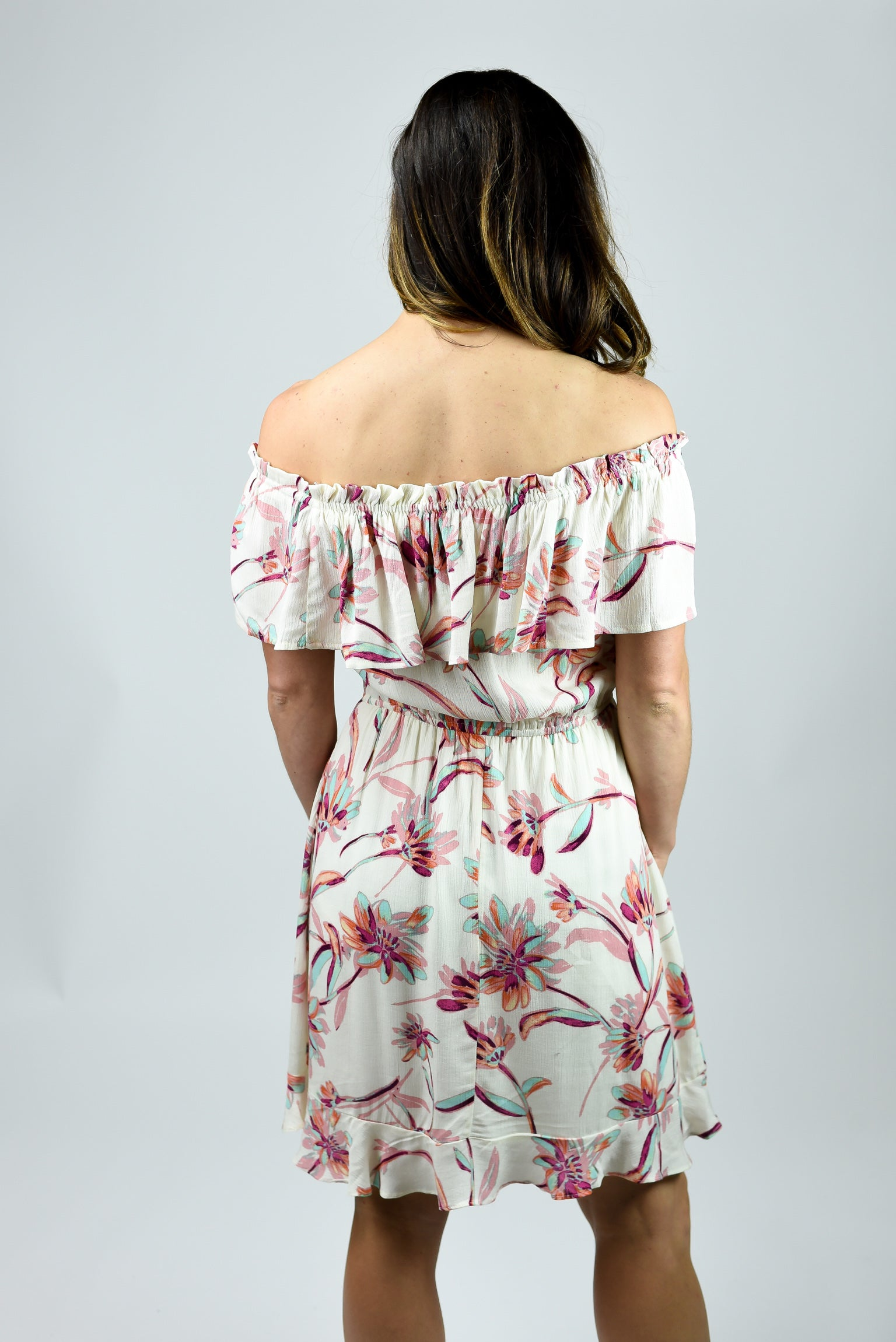 One In Every Crowd Ivory Floral Off Shoulder Dress