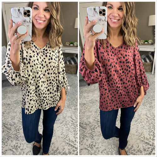 Shake It Up Black Spotted 3/4 Sleeve Blouse--Multiple Options