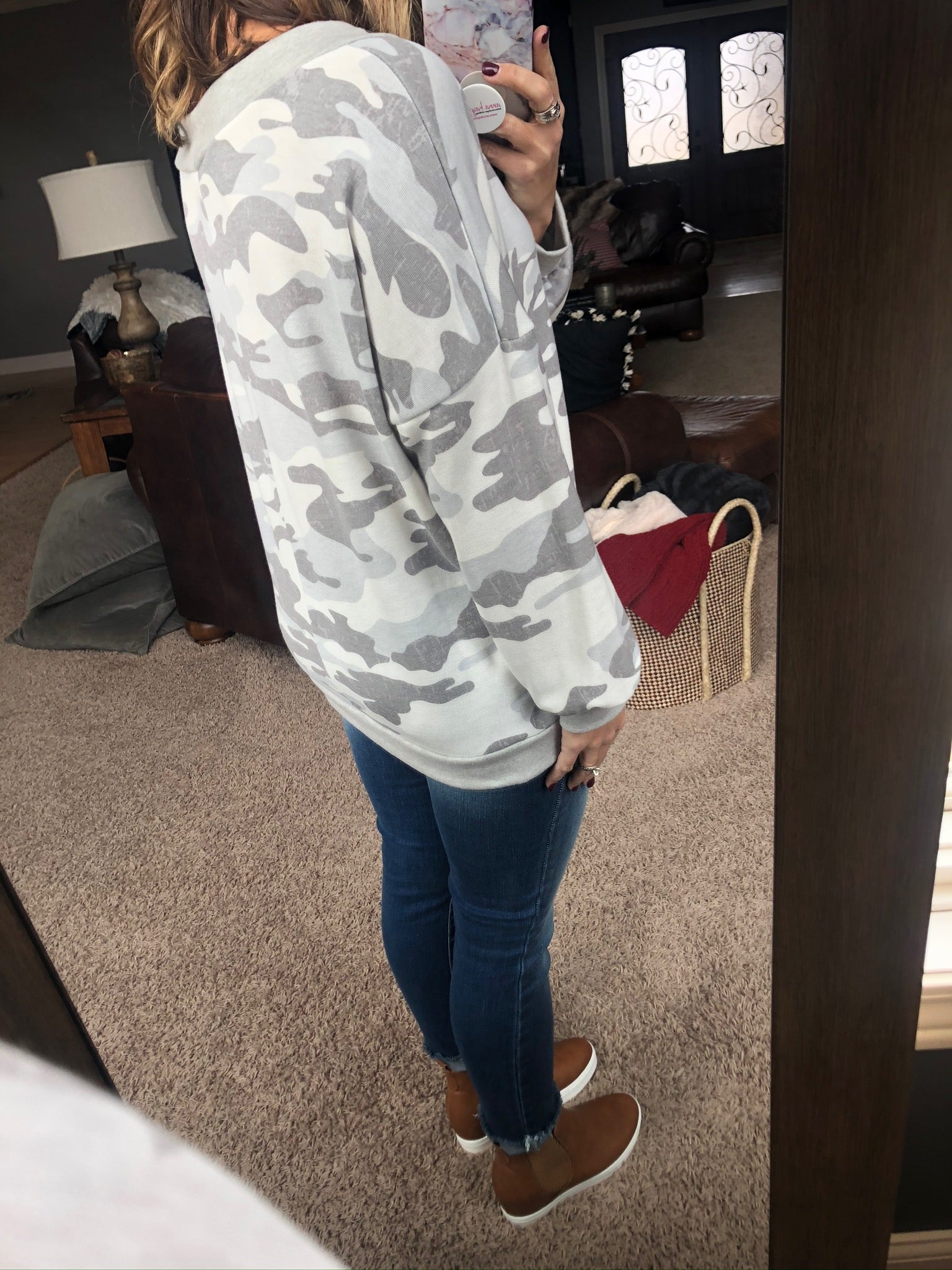 What She Really Wants Grey Camo V-Neck Sweatshirt- Also Available In Curvy