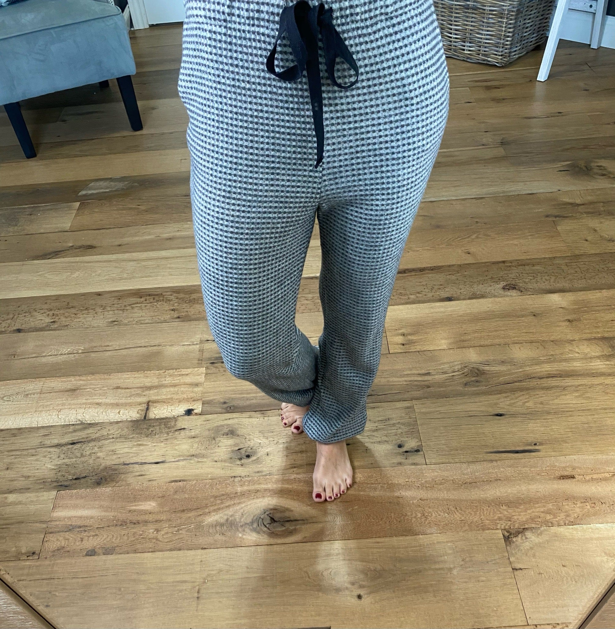 Mine All Mine Grey Solid Waffle Joggers with Drawstring & Pockets