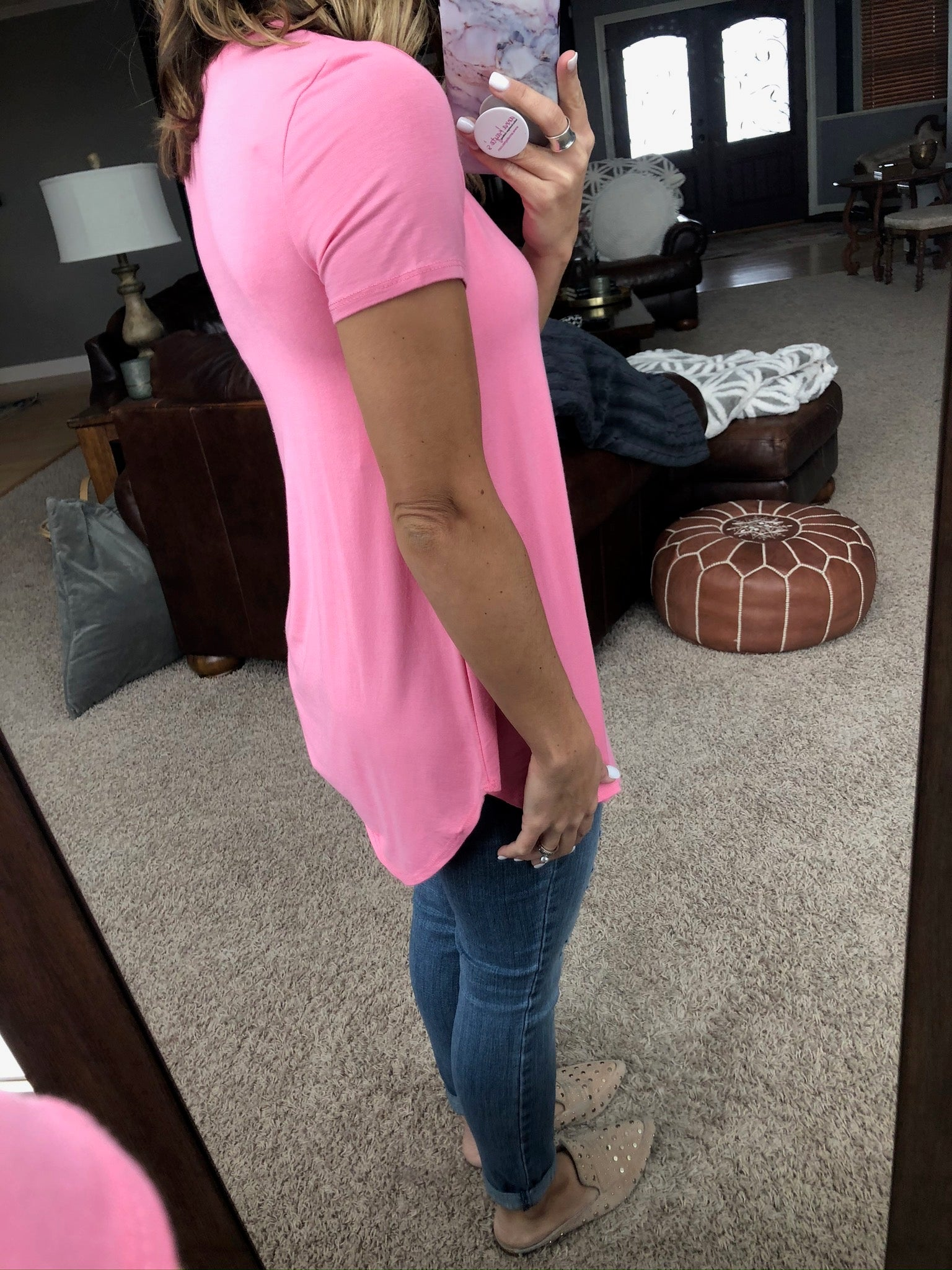 Good Foundation Tee With Rounded Hem - Pretty Pink