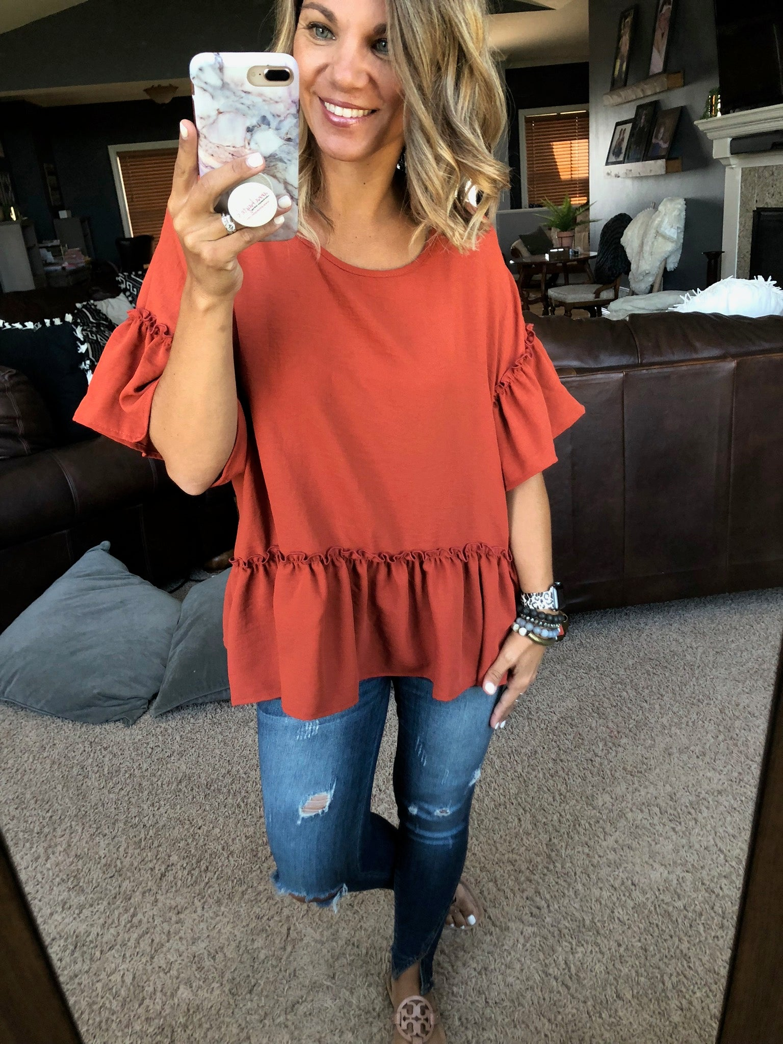 Never Leave You Rust Peplum Top with Ruffle Sleeve