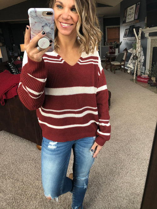 Through The Night Back Tie Stripe Sweater- Ruby