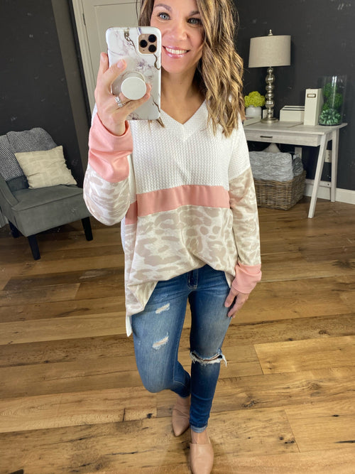 Brand New Day Ivory, Pink and Leopard Colorblock Oversized Long Sleeve