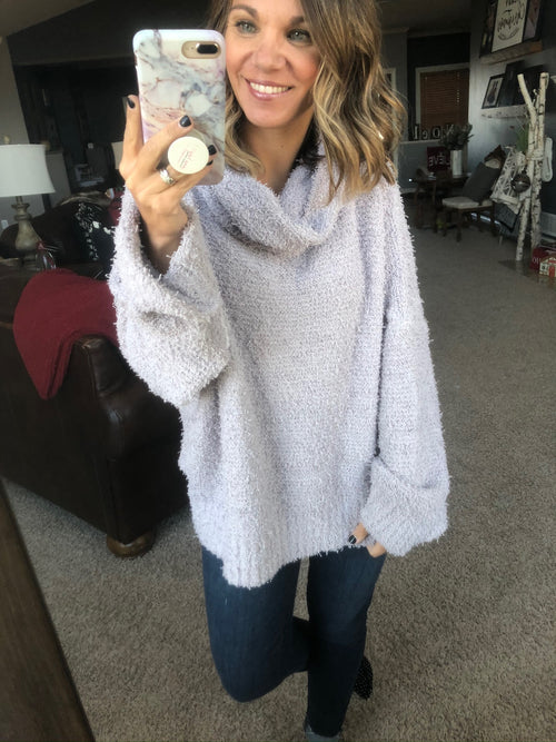 Wish Come True Pewter Tufted Cowl Neck Sweater
