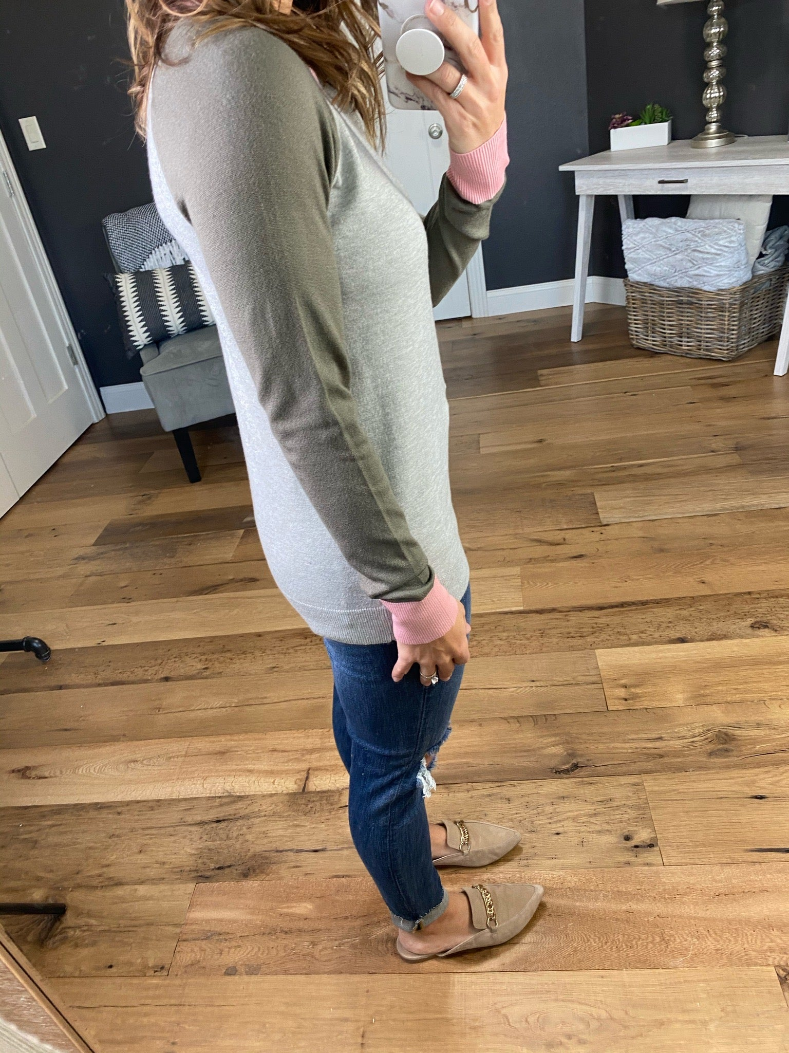 Too Pretty Heather Grey Crew Sweater with Colored Sleeves--Multiple Options