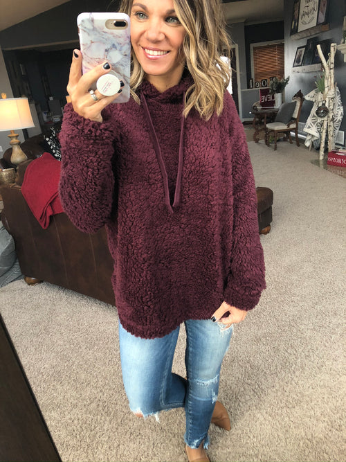 Over The Top Burgundy Sherpa Hoodie