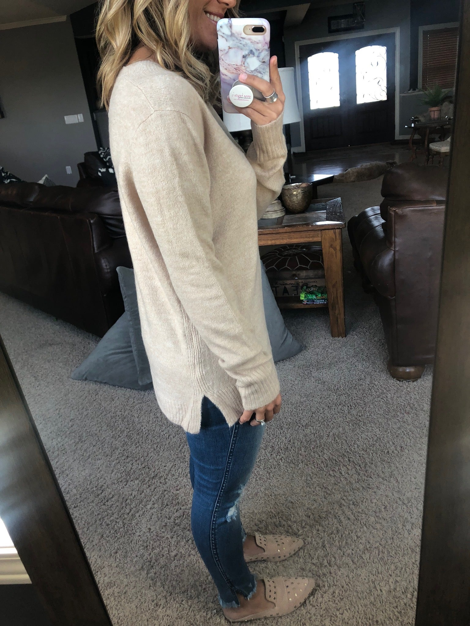 Let Me Go Taupe V-Neck Sweater
