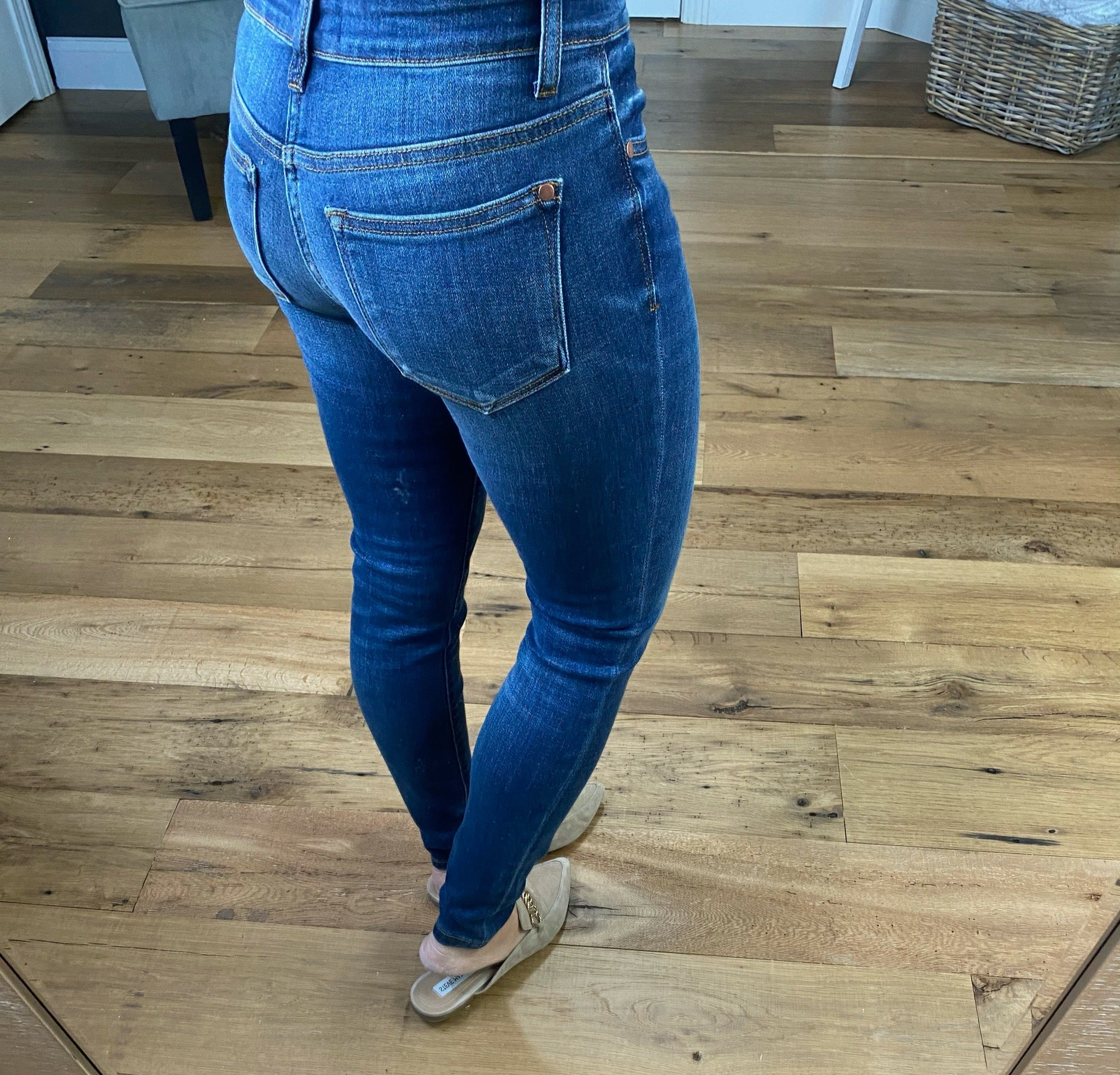 Wasted No Time Medium Wash Mid Rise Non Distressed Skinny Jeans