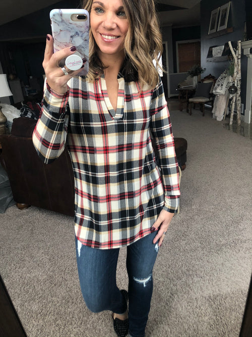 Plaid About You Red and Cream Plaid Long Sleeve
