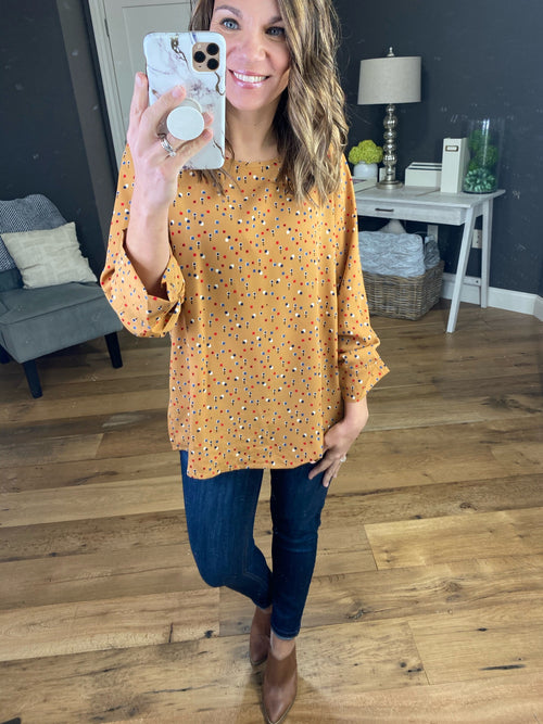 Make A Life Mustard 3/4 Sleeve Blouse with Geometric Print