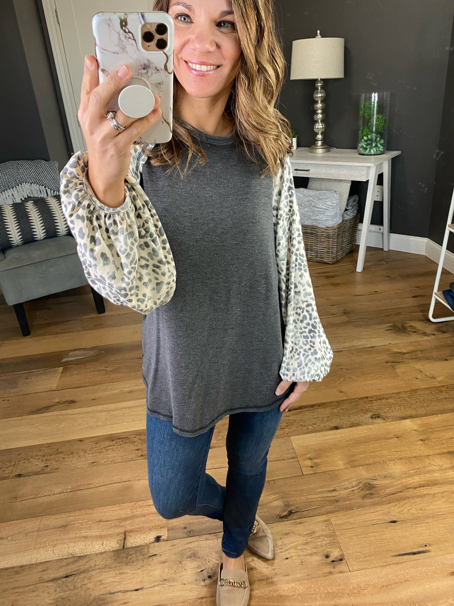 Chase It Down Leopard Balloon Long Sleeve with Exposed Stitching--Multiple Options