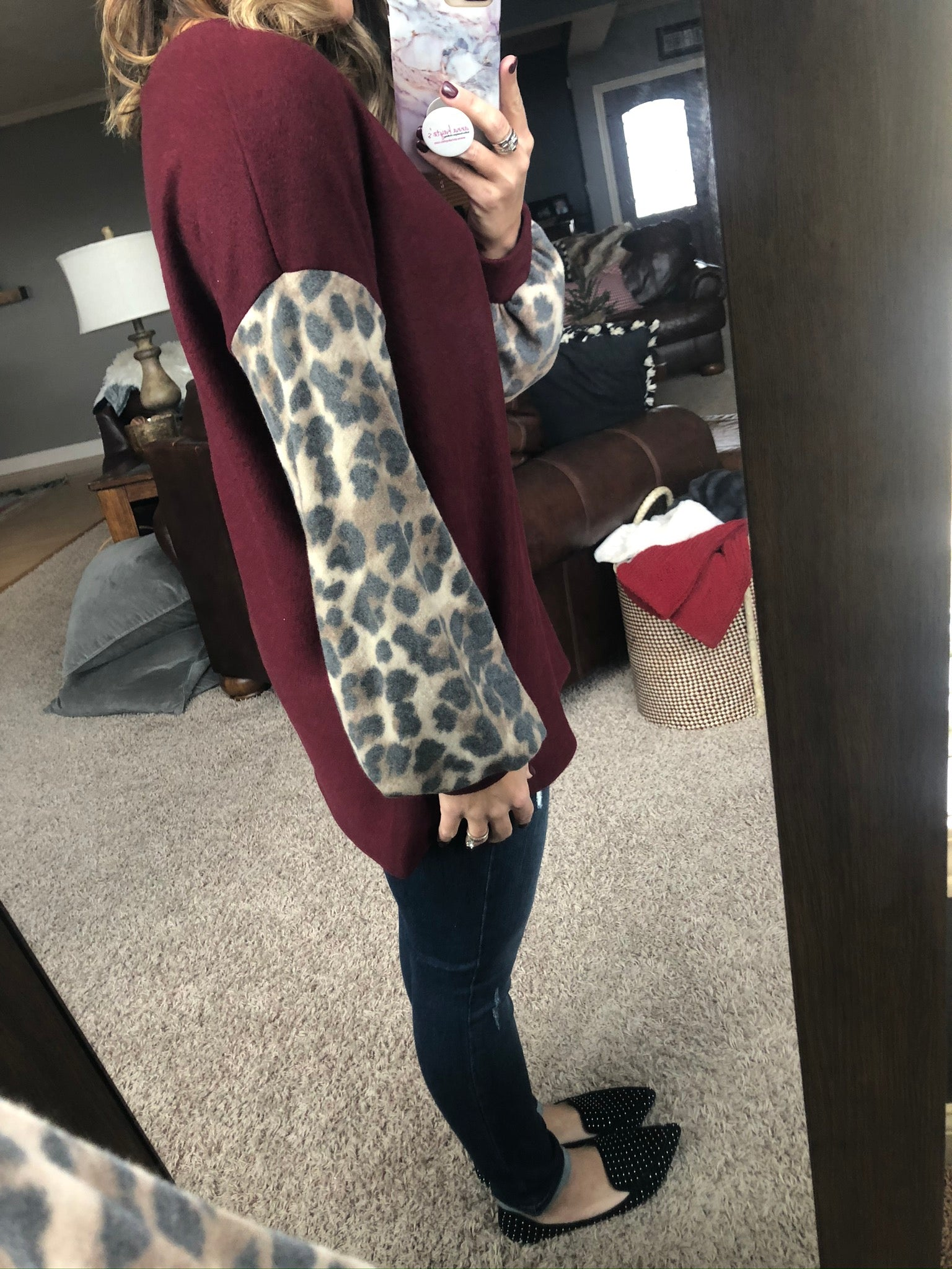 Together We Can Burgundy Brushed Fleece with Leopard Balloon Sleeve