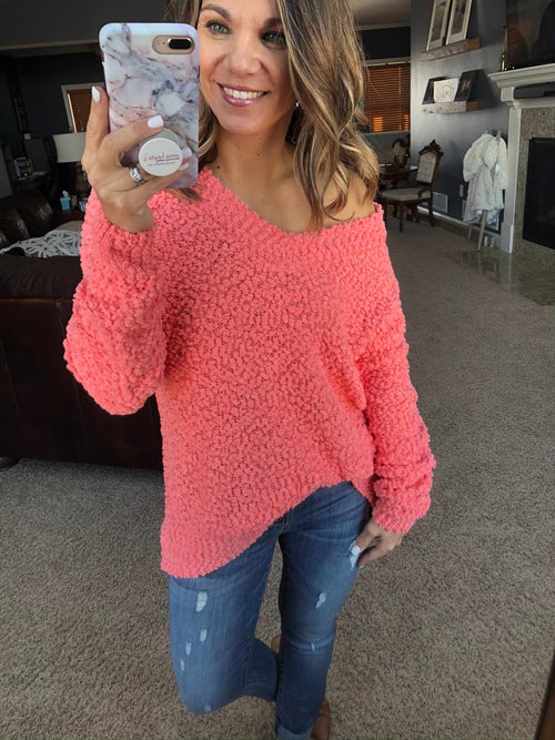 My Best Life V Neck Popcorn Sweater- Dark Coral