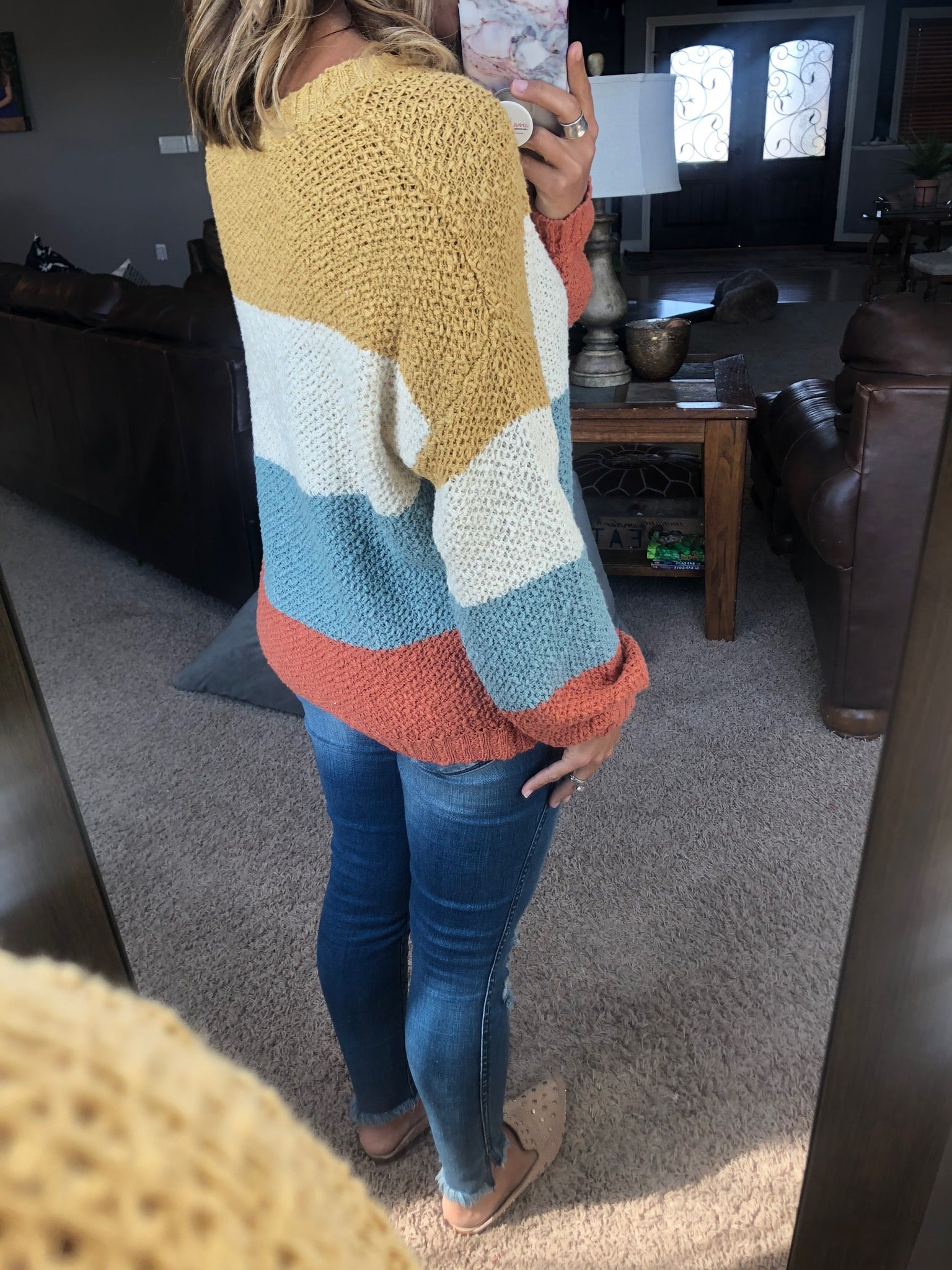 Feeling Some Stripe of Way Colorblock Sweater