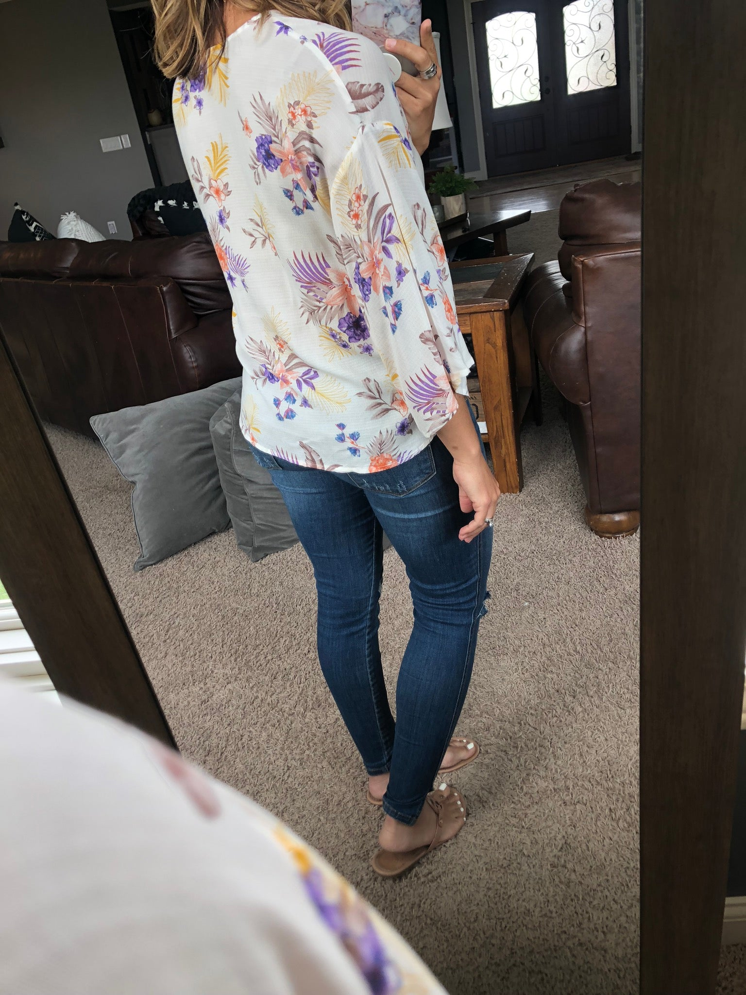 Blooming Love 3/4 Bell Sleeve Floral Tee with Front Tie - Ivory